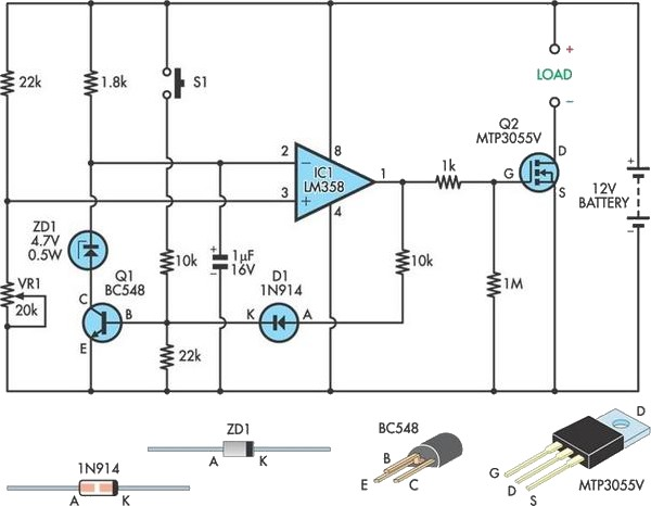 Low-Voltage Cutout For 12V SLA Batteries Circuit Diagram