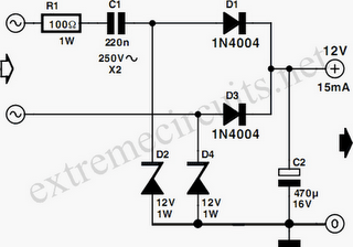 Low Power 12V Transformerless Power Supply Circuit Diagram