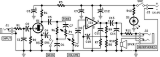 Mini Guitar/Bass Amplifier Circuit Diagram