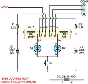 wiring diagram for latching relay 1980 kz1000 momentary switch teamed with circuit schematic
