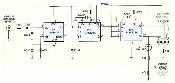 NTSC-PAL TV Signal Identifier Circuit Diagram