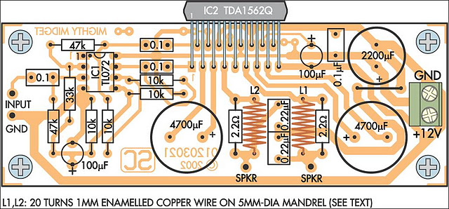 audio amplifier circuit diagram with layout number for nickel shell free wiring car power amp pcb design parts of 36 watt