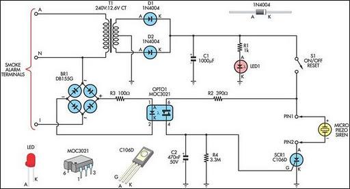 Remote Alarm For Smoke Detector Circuit Diagram