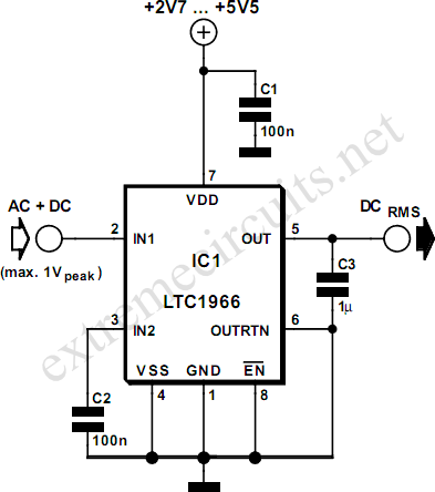 RMS to DC Converter Circuit Diagram
