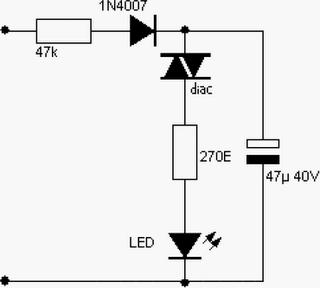 220V AC Powered Blinking LED Circuit Diagram