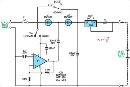 Simple Battery Charger Circuit Charges Upto 12 NiCD Cells