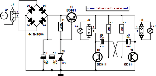 LED Bike Light Circuit Project Circuit Diagram
