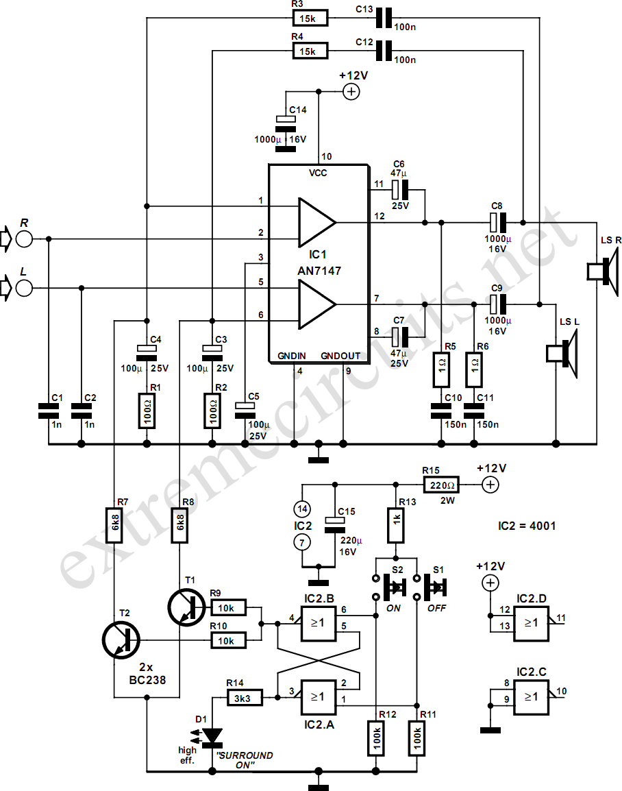 5.3W Amplifier With Surround System Circuit Diagram
