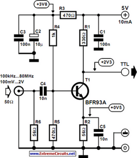 Sine Wave To TTL Converter Circuit Diagram