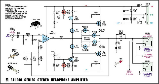 Studio Series Stereo Headphone Amplifier Circuit Diagram