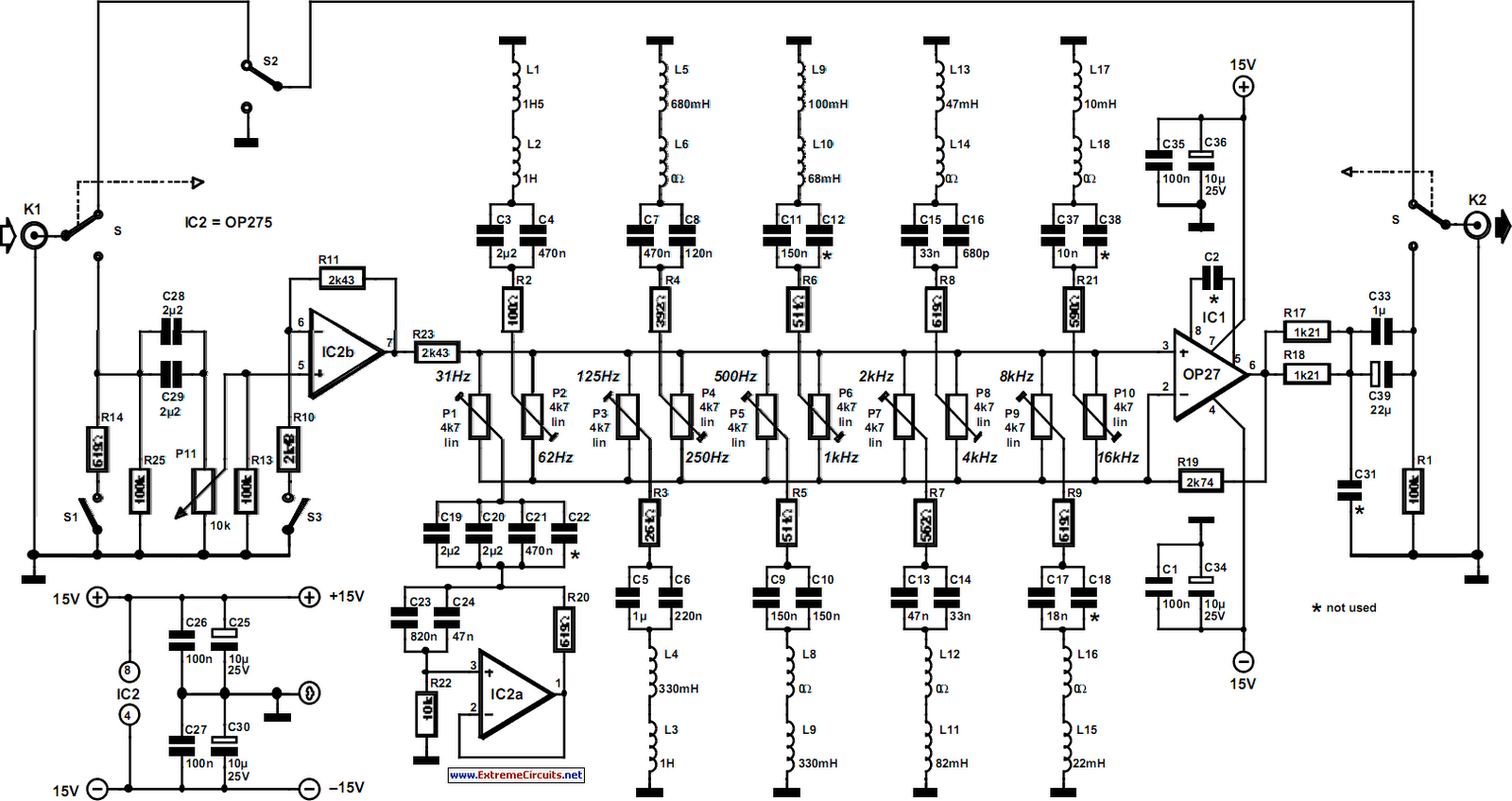 Ten-Band Equalizer Circuit Diagram