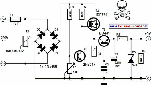 5v transformer less power supply electronic circuits and diagram