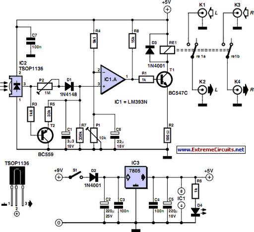 TV Muter Circuit Circuit Diagram