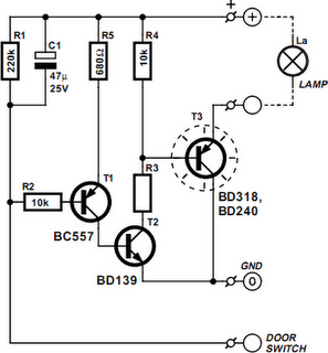 Vehicle Interior Lighting With Switch-Off Delay Circuit