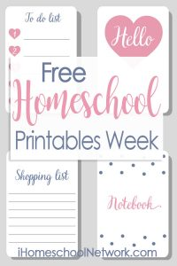 Free Homeschool Printables Week from the Bloggers of the iHomeschool Network