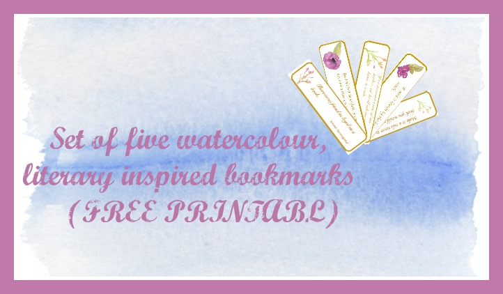 Set of 5 Watercolour, Literary Inspired Bookmarks {PRINTABLE}