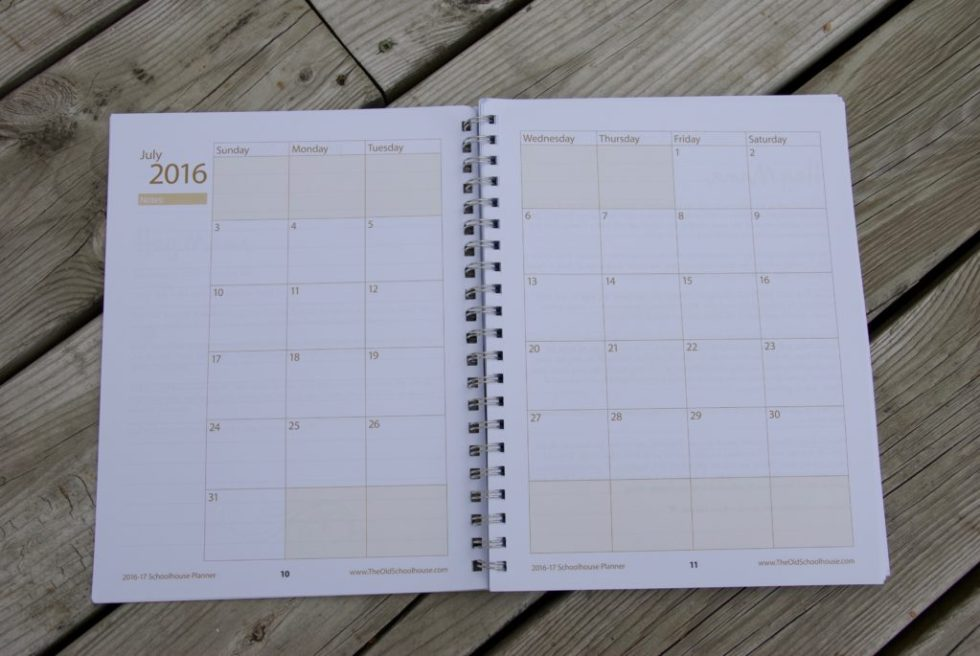 Hey Mama! Schoolhouse Planner Review - Monthly planning pages