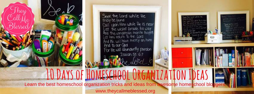 Check out the 10 Days of Homeschool Organization Ideas Blog Party over at www.theycallmeblessed.org for all kinds of homeschool organization tips, and check out the awesome homeschool spaces of homeschool bloggers!