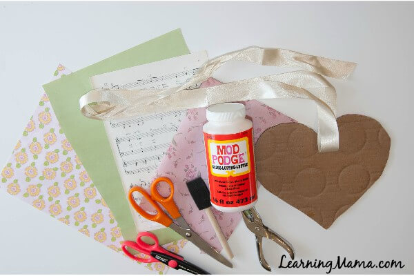 Easy Decoupage Heart Art Project for Kids - required supplies