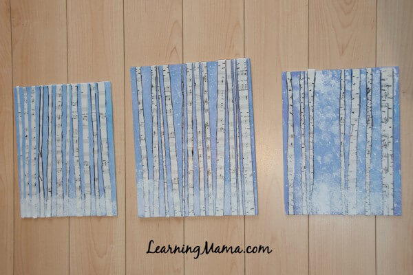 The Easy Way to Teach Art at Your Homeschool Co-op: Masterpiece Society's Winter Wonderland Workshop Birch Forest