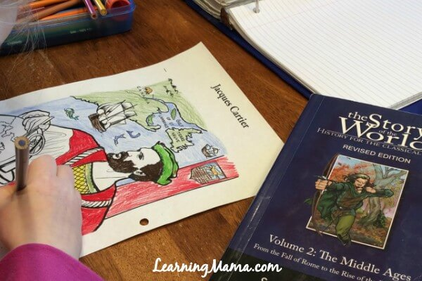 Using Story of the World with Multiple Ages - colouring pages
