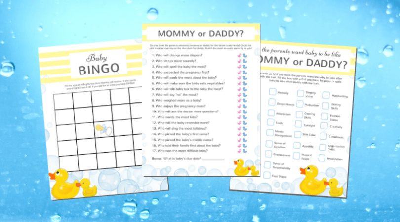 Rubber Ducky Baby Shower Games Advice Cards To Print