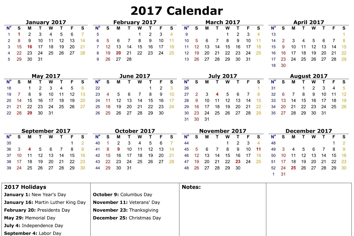 Yearly Calendars Printable Free With Holiday