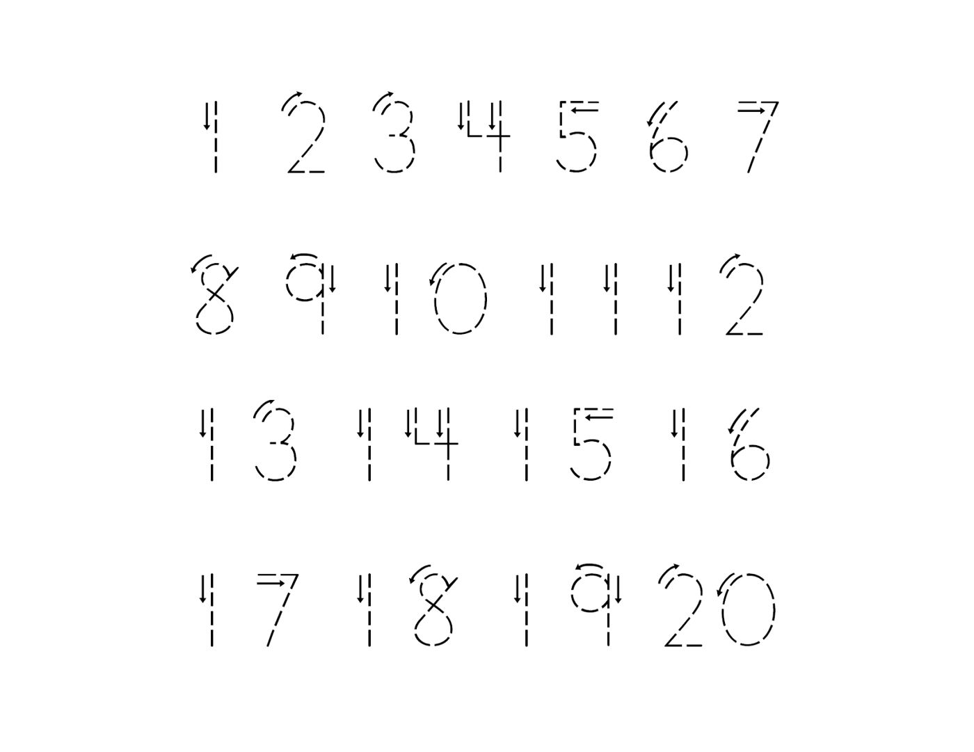 1 20 Number Tracing Sheet Learning Printable