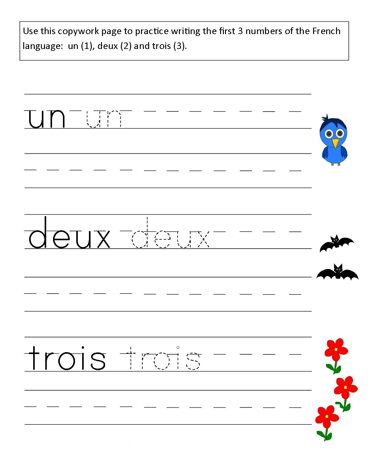 French Worksheets Grade 1 Trace Learning Printable