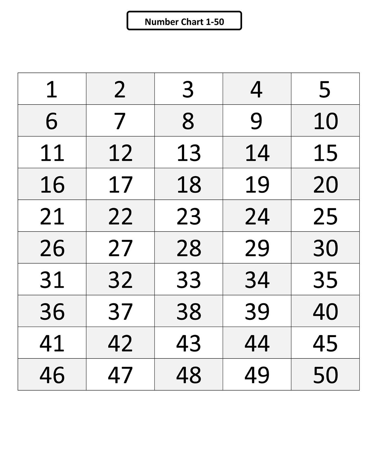Counting To 50 Printable Learning Printable