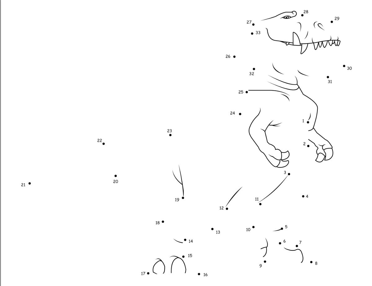 Dinosaur Dot To Dot Pictures Worksheet Learning Printable