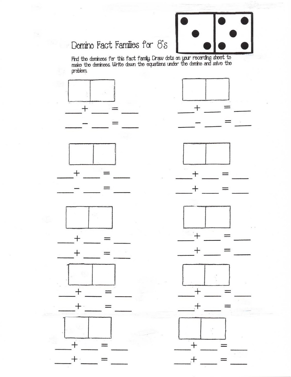 Fact Family Worksheets Free Domino Learning Printable