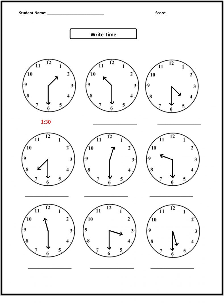 2nd Grade Math Worksheets Telling Time