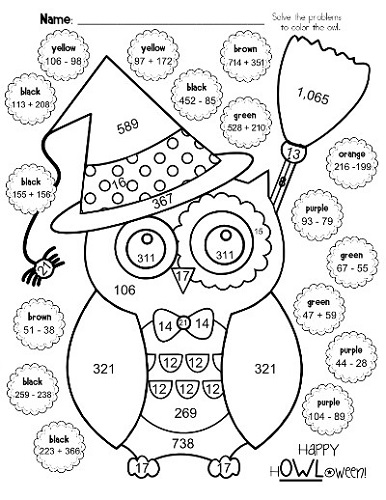 4th grade math worksheets halloween coloring
