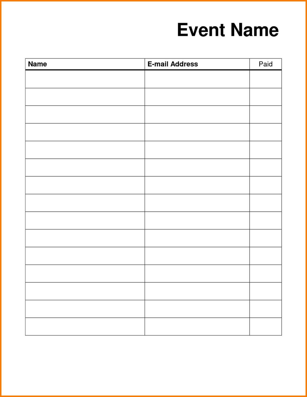 Printable Sign Up List