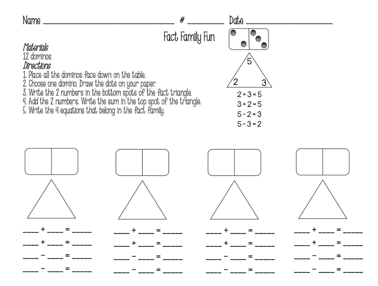 Fact Families Worksheet Fun Learning Printable