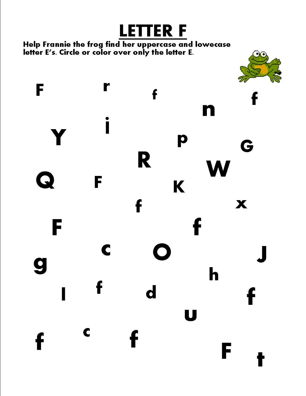 find letter worksheet printable