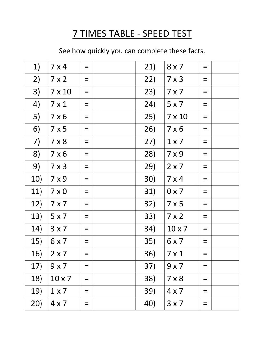 Times Tables Exercises To Print