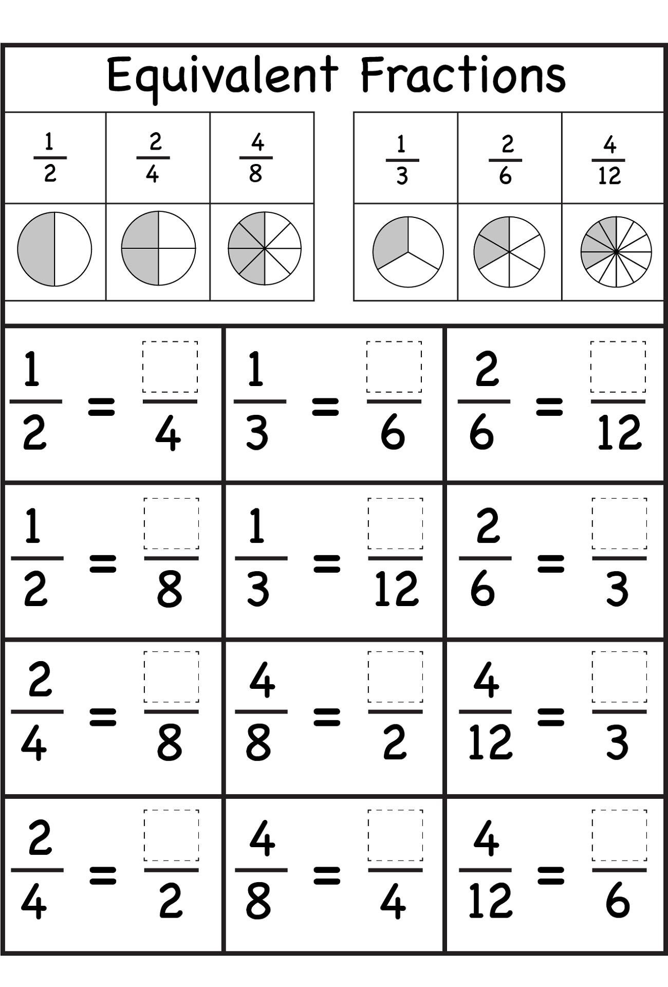 Equivalent Fraction Worksheets Learning Printable