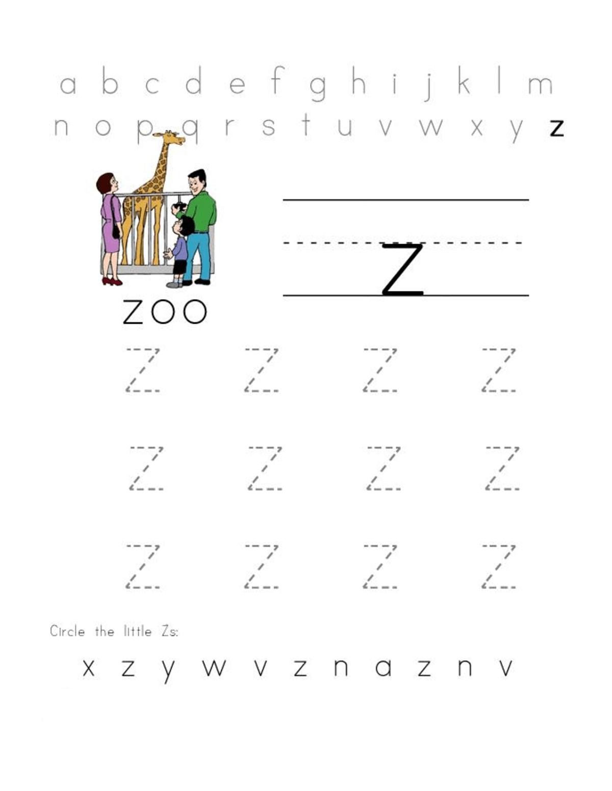 Letter Z Worksheets For Preschool Practice Learning