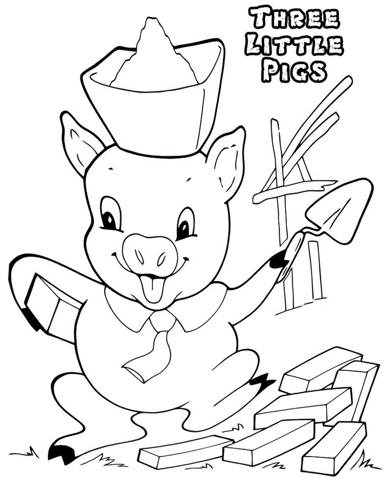 Three Little Pigs Coloring Pages For Preschool For Kids Learning Printable