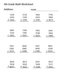 4th Grade Worksheets Math