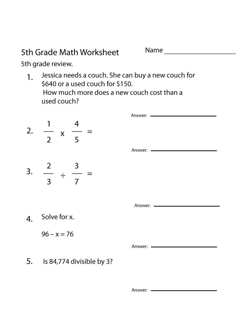 5th Grade Math Worksheets Printable