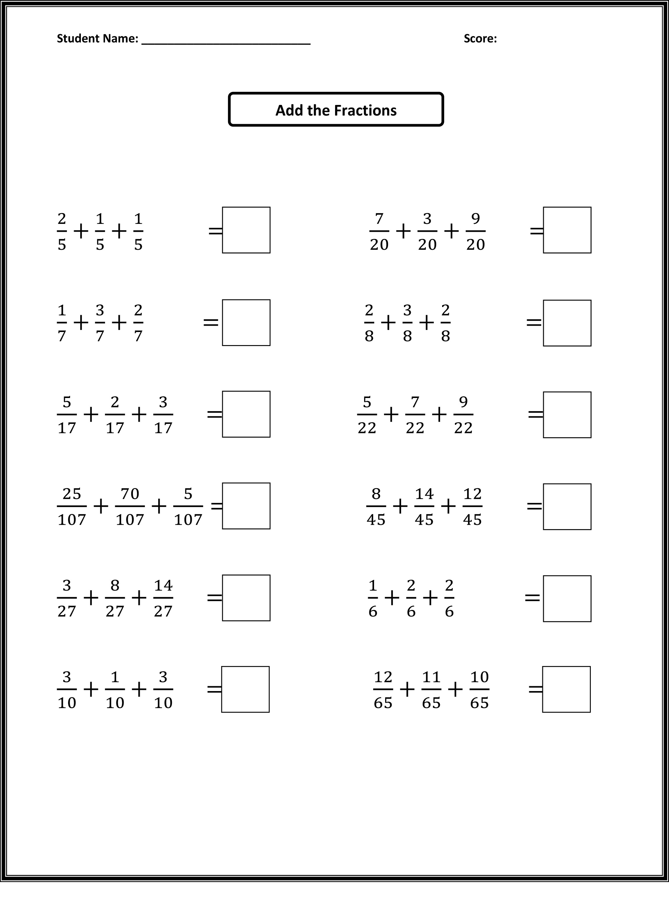 Fourth Grade Math Worksheets Fractions Learning Printable