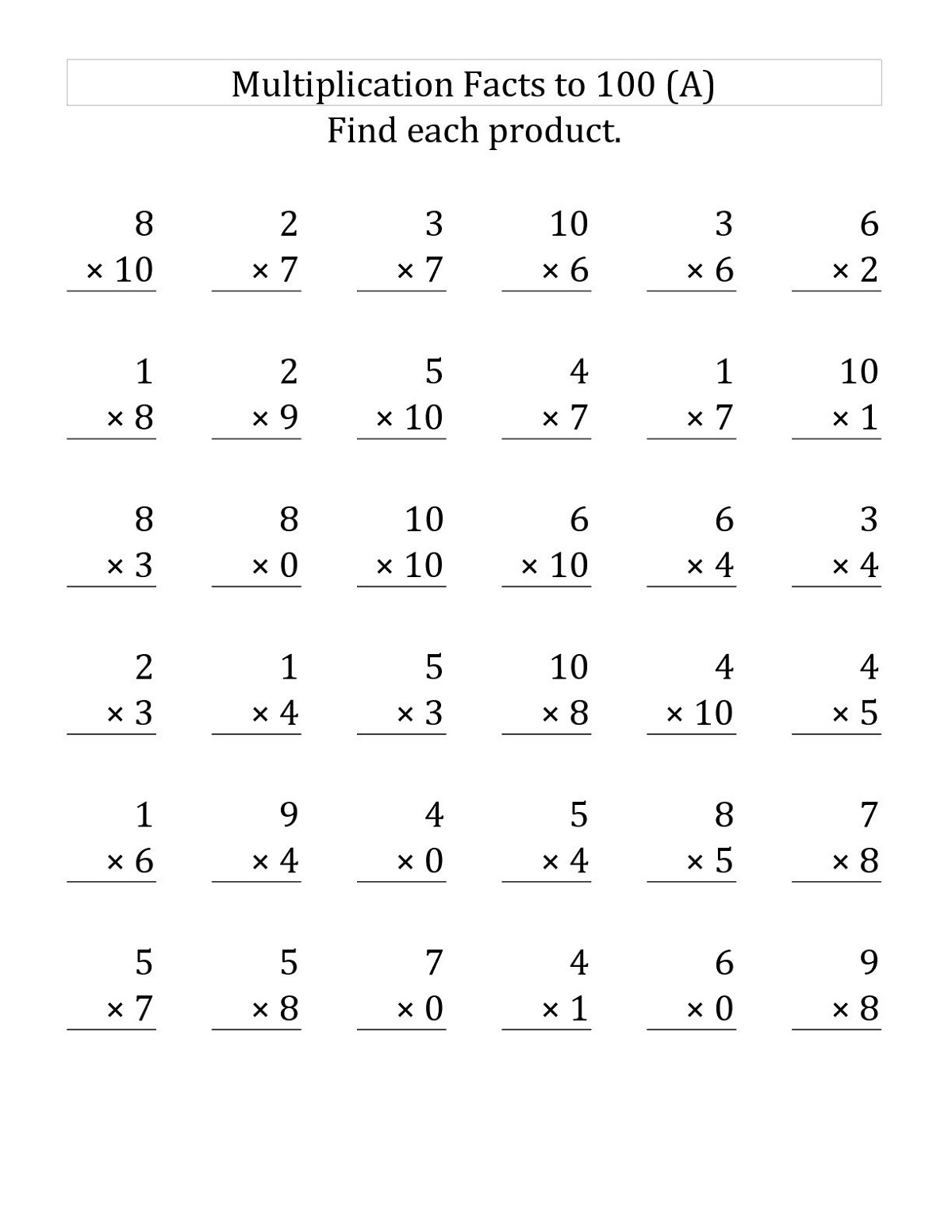 Math Fact Practice Worksheets Multiplication Learning