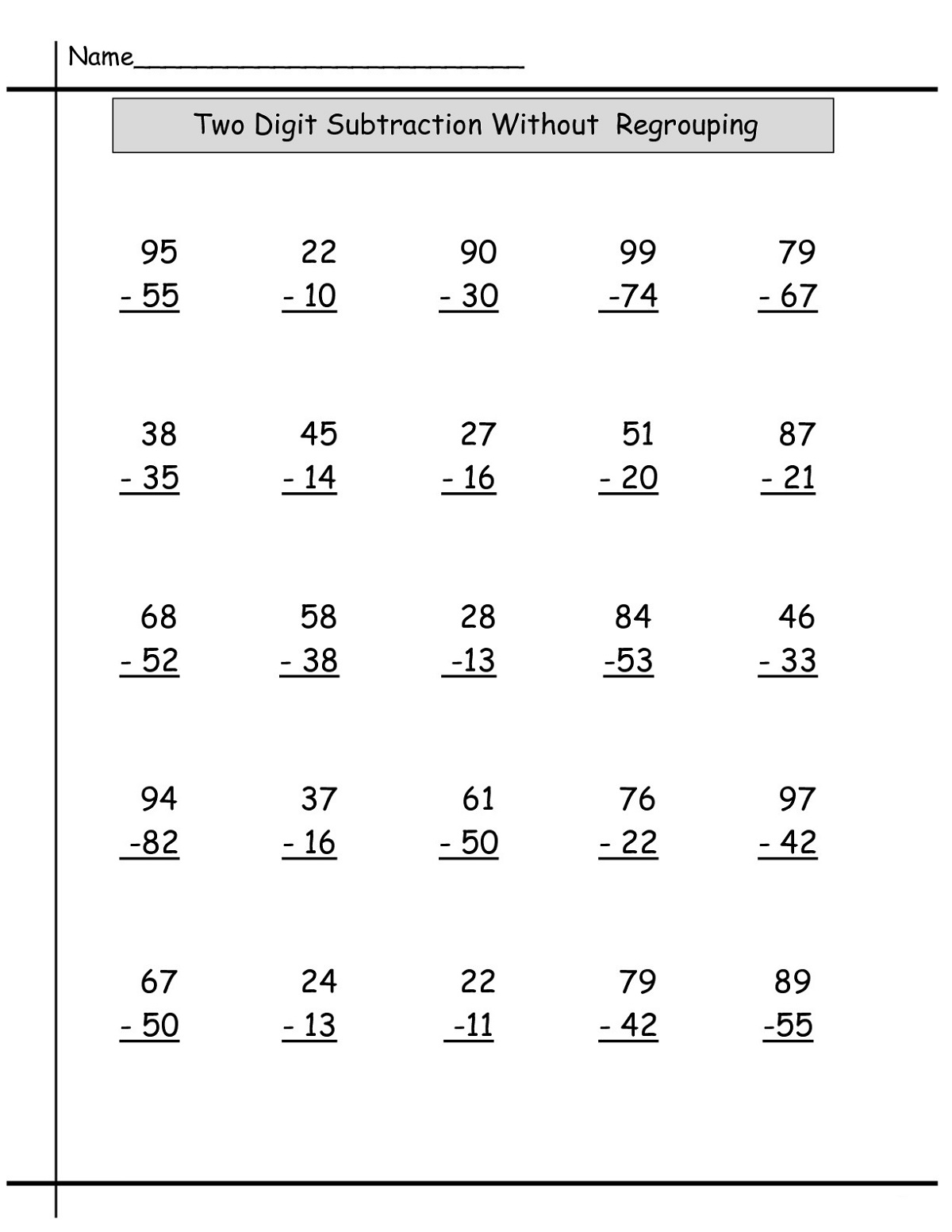 Year 2 Math Worksheets Subtraction Learning Printable