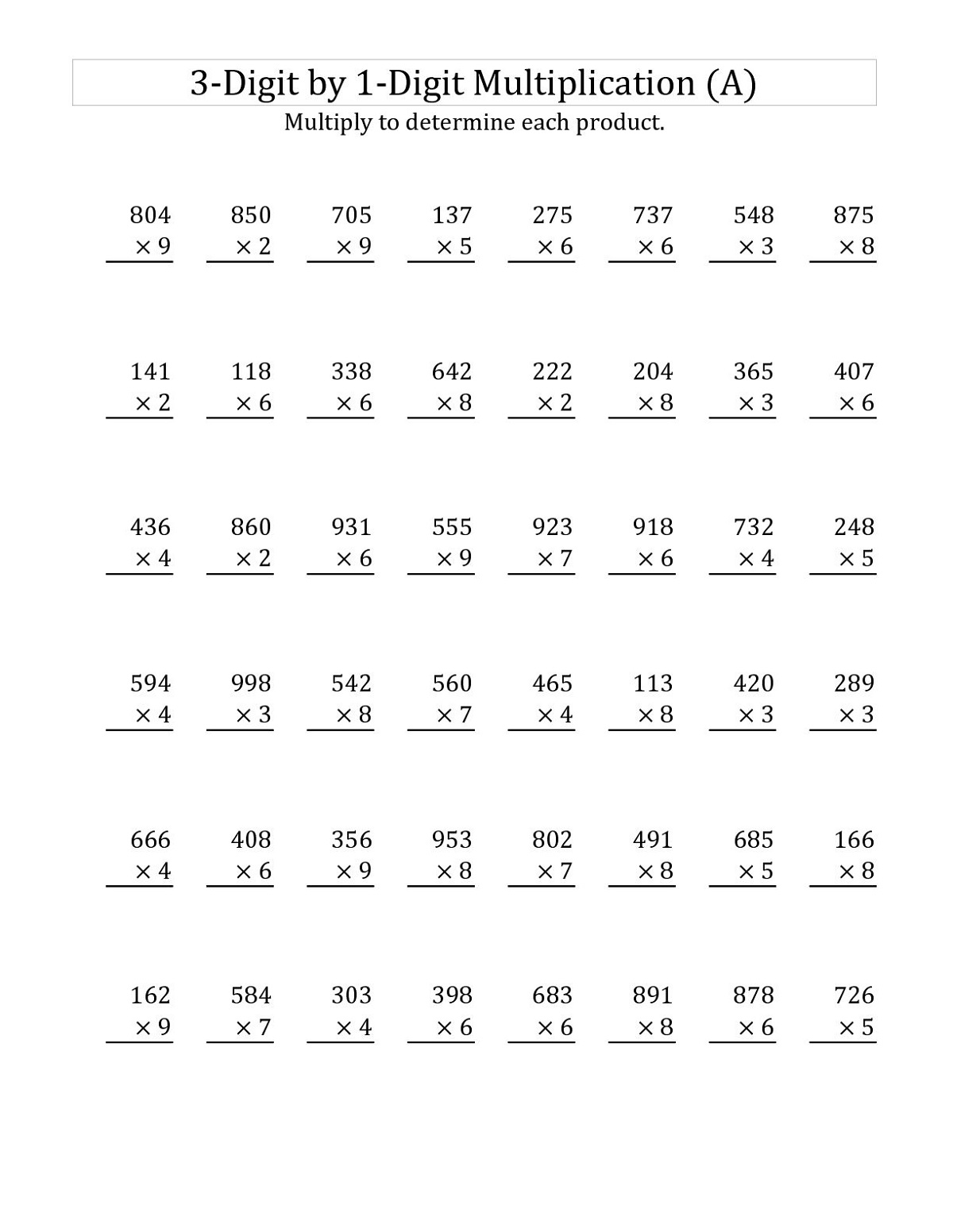 Column Math Worksheet