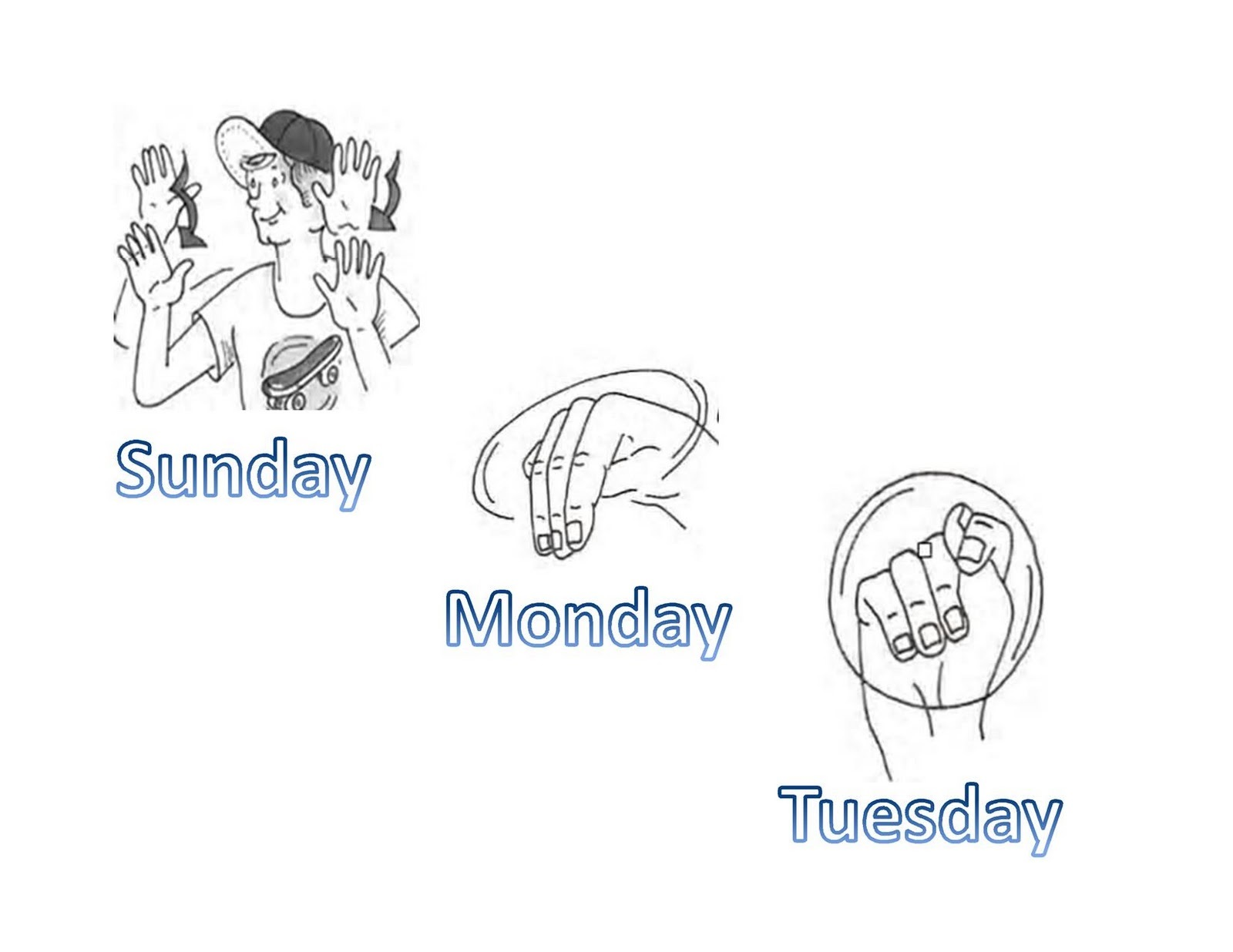 Day In Asl Pictures Page Learning Printable