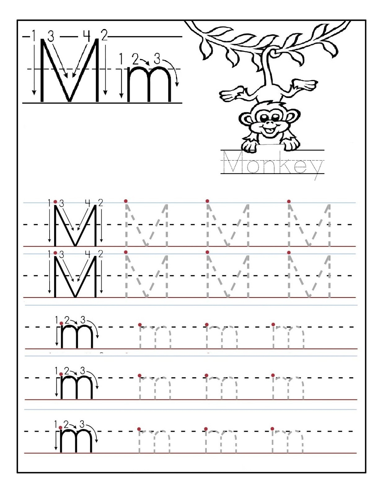 Learning To Write Worksheets Monkey Learning Printable