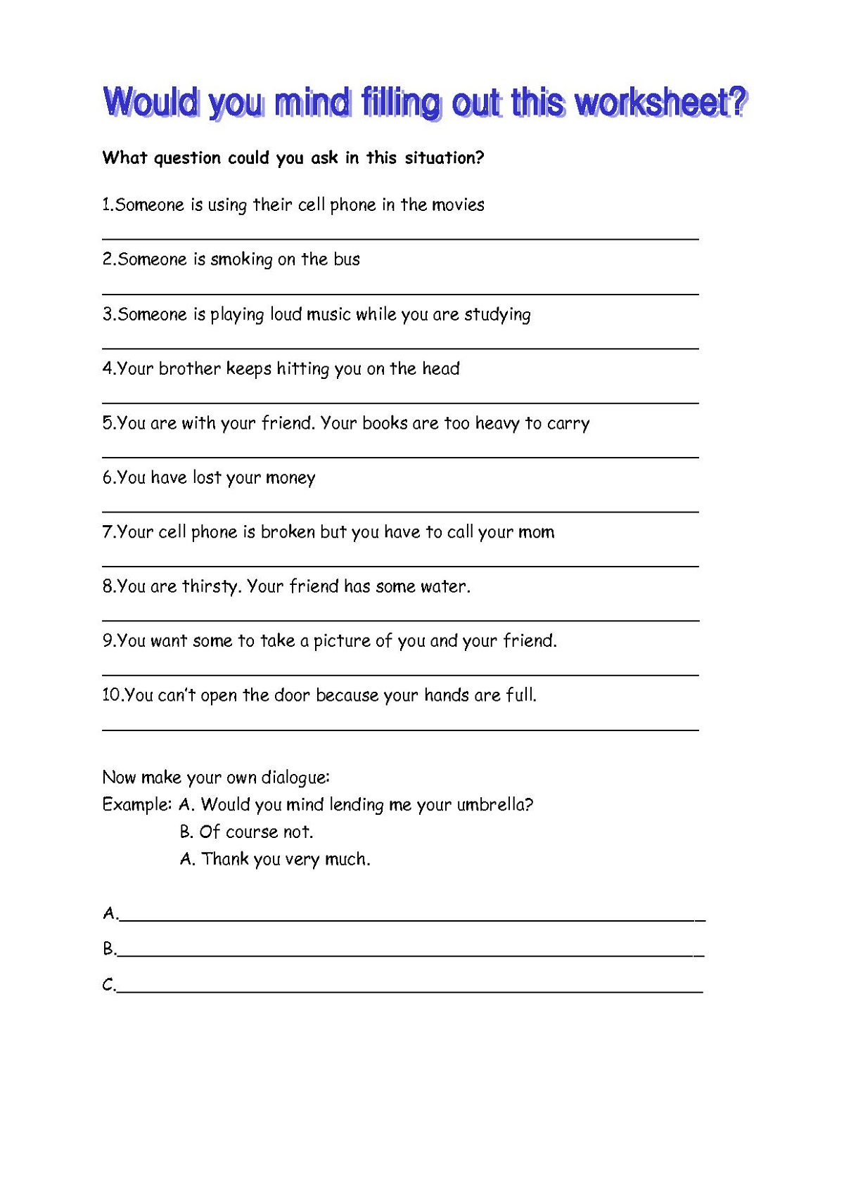 English Worksheets To Print